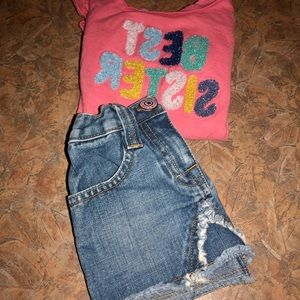 Other - Best Sister shirt and jean skirt